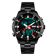 Hommes Montre de Sport Montre Bracelet Quartz LED Calendrier Chronographe Etanche Double Fuseaux Horaires penggera Acier Inoxydable Bande
