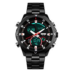 Skmei® Men's Stainless Steel Multifunction Dual Time Zones Sports Wrist Watch 30m Waterproof Cool Watch Unique Watch