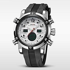 WEIDE Herre Armbåndsur Quartz Japansk Quartz LCD Kalender Kronograf Vandafvisende Dobbelte Tidszoner alarm Gummi Bånd Luksus SortSort