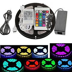 z®zdm 5m 300x5050 SMD RGB LED stripe lys 24key fjernkontroll (ac110-240v)