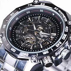 WINNER Αντρικά μηχανικό ρολόι Ρολόι Καρπού Αυτόματο κούρδισμα Εσωτερικού Μηχανισμού Ανοξείδωτο Ατσάλι Μπάντα Πολυτελές Ασημί Λευκό Μαύρο
