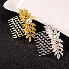 Leaf Hair Combs with Crystal Pearl Hair Jewelry
