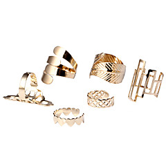 HUALUO®Geometric pattern retro fashion ring construction(six piece)
