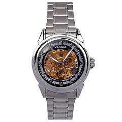 Hombre Reloj de Pulsera Cuerda Automática Huecograbado Aleación Banda Plata Marca-