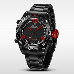 Herren Armbanduhr Japanischer Quartz LED / Kalender / Chronograph / Wasserdicht / Duale Zeitzonen / Alarm Edelstahl Band Schwarz Marke-