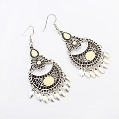 Women European Style Fashion Ethnic Vintage Metal Crescent Tassel Drop Earrings