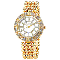 Damskie Modny Sztuczny Diamant Zegarek Kwarcowy Na codzień Stop Pasmo Srebro Złoty Silver Golden Brown-Gold