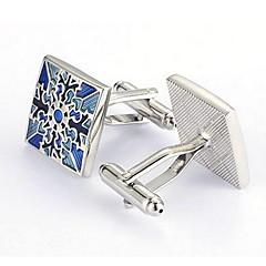 Men's Fashion Blue Flower Silver Alloy French Shirt Cufflinks (1-Pair)