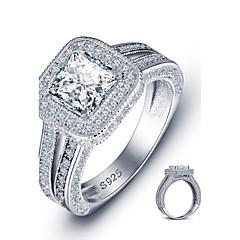 Pierścionki Square Shape Modny Ślub / Impreza / Casual Biżuteria Srebro standardowe Damskie Obrączki 1szt,6 / 7 / 8 Srebrne
