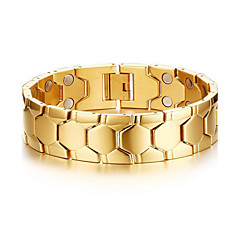 Men's Jewelry Health Care Gold Stainless Steel Magnetic Bracelet