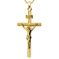 Fashion Jesus Cross 18k Gold Plated Necklace Pendant Men/Women Jewelry gift P30021
