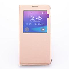 Voor Samsung Galaxy Note met standaard / met venster hoesje Volledige behuizing hoesje Effen kleur PU-leer Samsung Note 5