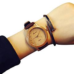 muoti kvartsi yksinkertainen rento kellot nahkavyö kierros metalliseos dial puutumista naisten viileä kellot ainutlaatuinen kellot