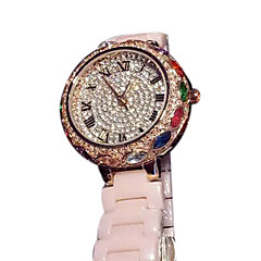Dames Modieus horloge Kwarts Japanse quartz Vrijetijdshorloge Keramiek Band Glitter Goud Rose Wit Beige Roze