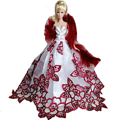 Barbie Doll White / Wine Red Party & Evening Organza / Lace Dresses Dresses