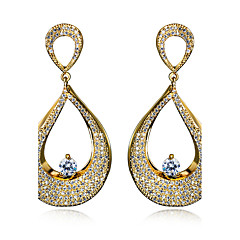 Earring Oval Drop Earrings Jewelry Women Fashion Wedding / Party / Daily / Casual Cubic Zirconia / Copper / Platinum Plated / Gold Plated