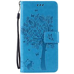Voor Samsung Galaxy Note Kaarthouder / Portemonnee / met standaard / Flip / Reliëfopdruk hoesje Volledige behuizing hoesje Boom Zacht