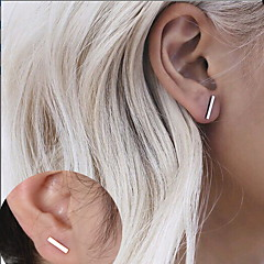 Gold Silver 一 Line Shape Stud Earrings for Women/Men Casual Jewelry