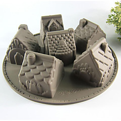 Cocina creativa Gadget / Mejor calidad / Alta calidad Silicone Cake Molds 6 Even House A Microwave Oven Tool Silicona 26*26*6.3