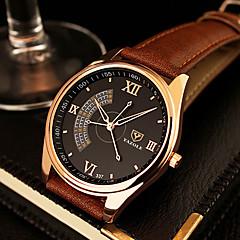 Masculino Relógio Elegante Quartz Relógio Casual Couro Banda Preta / Marrom marca
