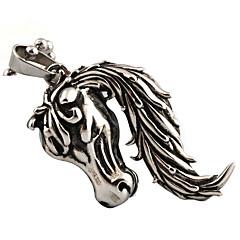 Men And Women Retro Punk Titanium Horse Pendant Necklace