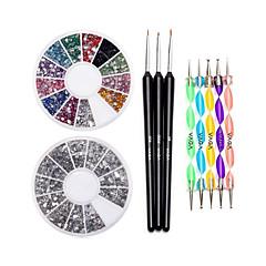 köröm 12 szín drágakövek kerékhajtást pontozás toll&ecset készlet