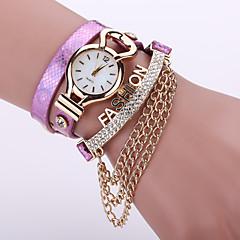Women's Layered Leather Band with Gold Chain Tassel White Case Analog Quartz Bracelet Fashion Watch