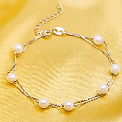 White Pearl Strand Bracelet Chain Set