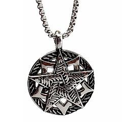 Personality Punk Icons, Pentagram Titanium Steel Necklace Pendant Silver (Excluding Chain)