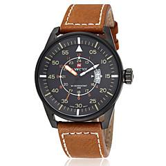 NAVIFORCE® Men's Sports Watch Waterproof Dress Quartz Wrist Watch Real Leather Band Japan 2035 Movt (Assorted Colors) Cool Watch Unique Watch