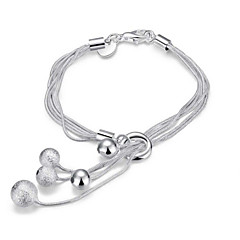 Exquisite Simple Fine S925 Silver Ball Pendant ;ayered Chain Charm Bracelet for Wedding Party Women