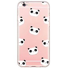 Til iPhone X iPhone 8 iPhone 6 iPhone 6 Plus Etuier Ultratyndt Gennemsigtig Bagcover Etui Tegneserie Panda Blødt TPU for Apple iPhone X