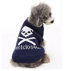Cat Dog Sweater Dog Clothes Winter Skulls Casual/Daily Keep Warm Black Gray Blue Pink