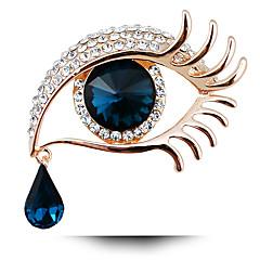 vendimia de la manera de la mujer llena de diamantes de imitación largas pestañas ojos grandes joyas de cristal broche