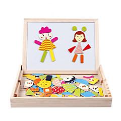 Dřevěné děti kouzlo le magnetická oboustranná rýsovacím prkně puzzle magic desku