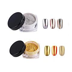 2pcs  2G/Jar Shinning Mirror Nail Glitter Powder Gold Sliver Nail Art Manicure Chrome Pigment Glitters