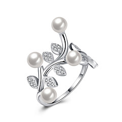 Fine Sterling Silver  Leaves of Pearl Diamond Statement Ring for Women Wedding Party