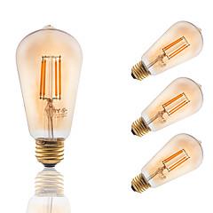 E26/E27 LED-gloeilampen ST19 4 COB 300 lm Amber Dimbaar Decoratief AC 110-130 V 4 stuks