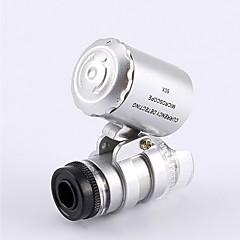 Microscopio pequeño del joyero 60X 2 LED Mini Microscopio de bolsillo lupa del joyero de la lupa