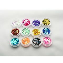 Byfunme 12 color Diamond  Sequin Nail sticker set/Glitter Nail Art Decoration Combination