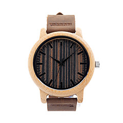 Unique Vogue Mens Quartz Watches Wooden Outdoor Sport Watches Clock With Leather Strap montre homme