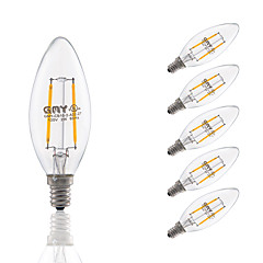 2W E12 LED Filament Bulbs B10 COB 200 lm Warm White Dimmable / Decorative AC 110-130 V 6 pcs