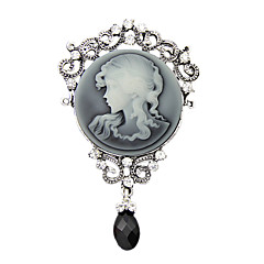Women's Fashion Antique Silver Vintage Brooch Pins Jewelry Queen Rhinestone Water Drop Brooches For Women Gift