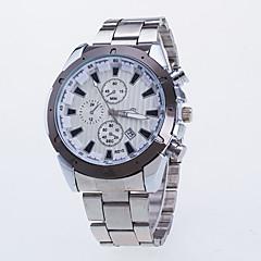 Men's Silver Alloy Steel Strip Watch Three Six-Pin Single Calendar Quartz Watch Literally Double
