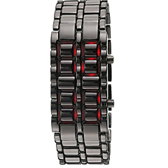 Herr Modeklocka Armbandsur LED Kalender Digital Silikon Band Armring Svart Silver