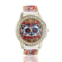 女性/レディースキュートな特殊なフクロウケースアクリルビーズ革バンドファッション時計
