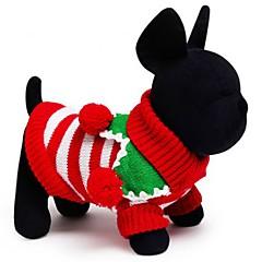 Gatos Cães Súeters Roupas para Cães Inverno Primavera/Outono Riscas Férias Mantenha Quente Natal Branco Vermelho Verde