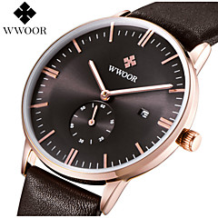 WWOOR Men's Genuine Leather Band Japanese Quartz 30m Water Ressistant Party Wedding Dress Wacth Gift