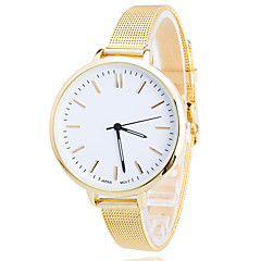 Women/Lady's Gold Steel Thin Band White Round Case Analog Quartz Fashion Watch