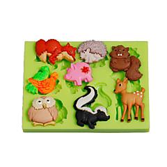 Jungle dyr ugle egern silikone polymer ler mund kage dekoration værktøjer fimo fondant gør farve tilfældigt